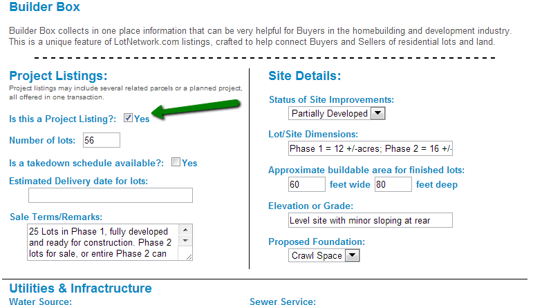 Sell Development Projects by checking the box for a Project Listing