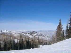 View of Utah mountains as land for sell in ski area