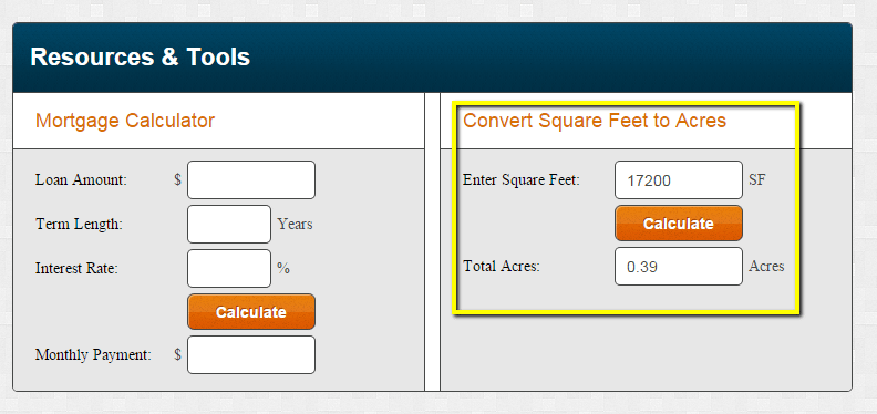 Tool to help you convert square feet to acres