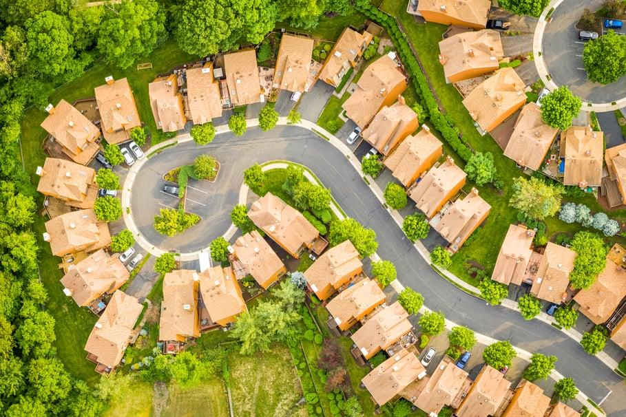 Aerial view of new home community